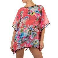 Dames zomer poncho / tuniek met bloemen - koraal / roze