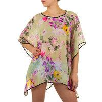 Dames zomer poncho / tuniek met bloemen - groen / paars