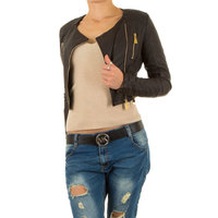 Dames korte biker jas / leatherlook jack - donkerbruin