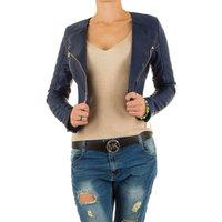 Dames korte biker jas / leatherlook jack - blauw