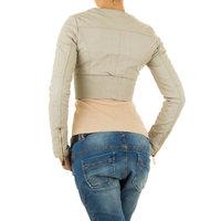 Dames korte biker jas / leatherlook jack - beige