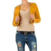 Dames korte biker jas / leatherlook jack - geel