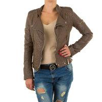 Dames biker jas / leatherlook jack - bruin