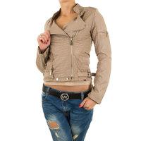 Dames biker jas / leatherlook jack - kaki