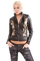 Dames biker jas / leatherlook jack met bloemen - zwart / multi