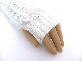 Handschoenen met strass, extra lang (toploos) - offwhite