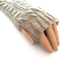 Handschoenen met strass, extra lang (toploos) - bruin