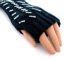 Handschoenen met strass, extra lang (toploos) - zwart