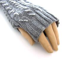 Handschoenen met strass, extra lang (toploos) - grijs