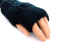 Handschoenen dames gebreid (toploos) - zwart