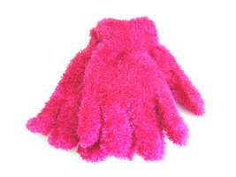 Kinderhandschoenen pluche - roze/fuchsia