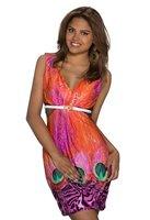 Dames korte jurk met animalprint - oranje / multicolor