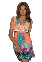 Dames korte jurk met animalprint - neon / multicolor