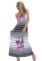 Dames maxi dress / lange jurk met strepen - roze / wit