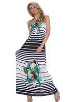 Dames maxi dress / lange jurk met strepen - groen / wit