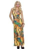 Dames maxi dress / lange jurk - geel / multicolor