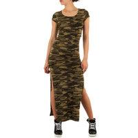 Dames maxi dress / lange jurk met legerprint - groen