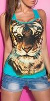 Dames top / tanktop met tijger - blauw