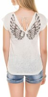 Dames shirt met korte mouw - wit / vleugels