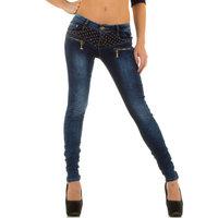 Dames spijkerbroek / skinny jeans met studs - blauw