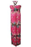 Dames maxi dress / lange jurk met bloemen - roze