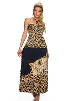 Dames maxi dress / lange jurk met panterprint - bruin / zwart