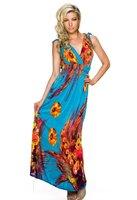 Dames maxi dress / lange jurk met bloemen - blauw