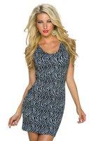 Dames korte jurk met zebraprint - zwart / wit