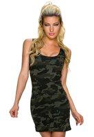 Dames korte jurk met legerprint - groen