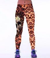 Dames sportlegging / lange legging - skull / panterprint