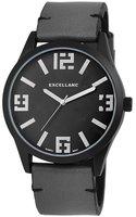 Excellanc XXL horloge met lederen band - zwart