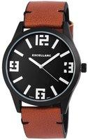 Excellanc XXL horloge met lederen band - bruin / zwart