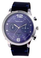 Excellanc XXL horloge met lederen band - blauw