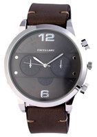 Excellanc XXL horloge met lederen band - donkerbruin / zwart