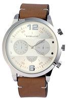 Excellanc XXL horloge met lederen band - bruin / zilver