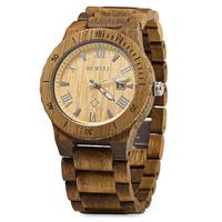 Bewell wood watch, echt houten horloge - bruin