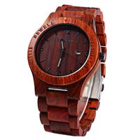 Bewell wood watch, echt houten horloge - roodbruin