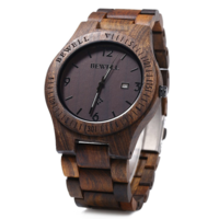 Bewell wood watch, echt houten horloge - donkerbruin