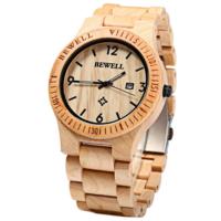 Bewell wood watch, echt houten horloge - lichtbruin