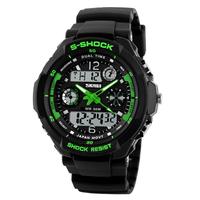 S-Shock analoog / digitaal horloge - zwart / groen