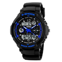 S-Shock analoog / digitaal horloge - zwart / blauw