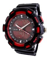 Analoog / digitaal horloge - zwart / rood