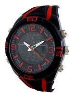 Vive analoog / digitaal horloge - zwart / rood