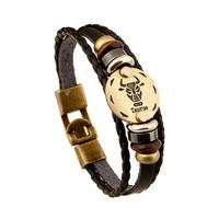 Armband leder / staal met sterrenbeeld - stier