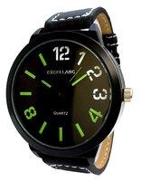 Excellanc XXL horloge met lederen band - zwart / groen
