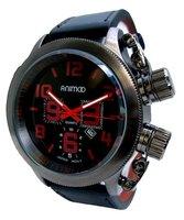 Animoo XXL horloge met lederen band - zwart / rood