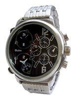 Oulm dualtime XXL horloge met stalen band - zilver / zwart