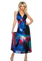 Dames maxi dress / lange jurk - zwart / blauw