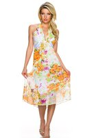 Dames halflange jurk met bloemen - oranje / roze