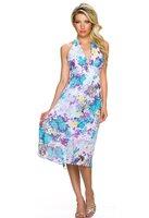 Dames halflange jurk met bloemen - blauw / paars